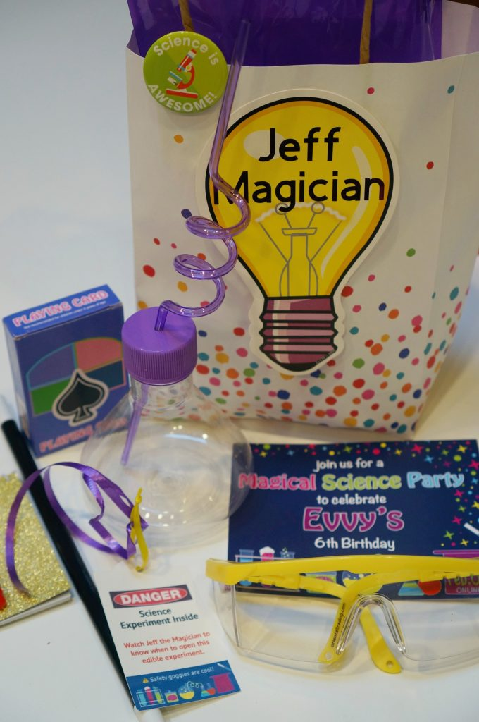 "Check out this cool party Goody Bag that a mom created for her daughter's party! It's a Zoom party and I'm doing some fun ""science magic"" demonstrations, including one that all of the kids will be able to follow along and do at their own home."